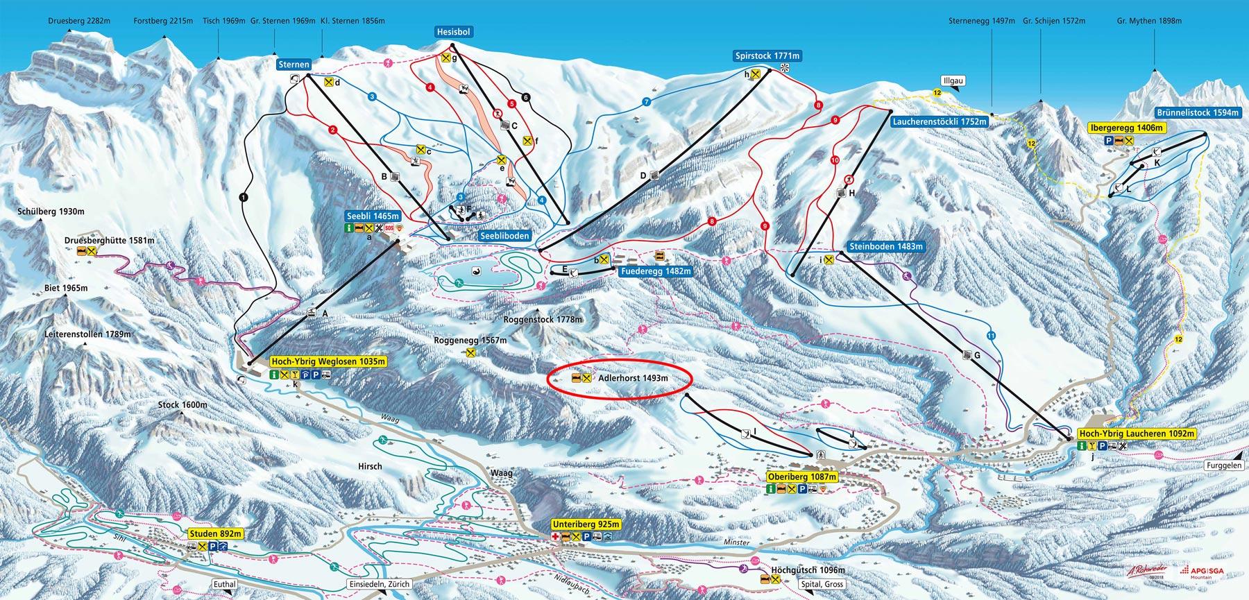 Panoramakarte  Übersicht Hoch-Ybrig Skigebiet Winter 2018-19 Adlerhorst