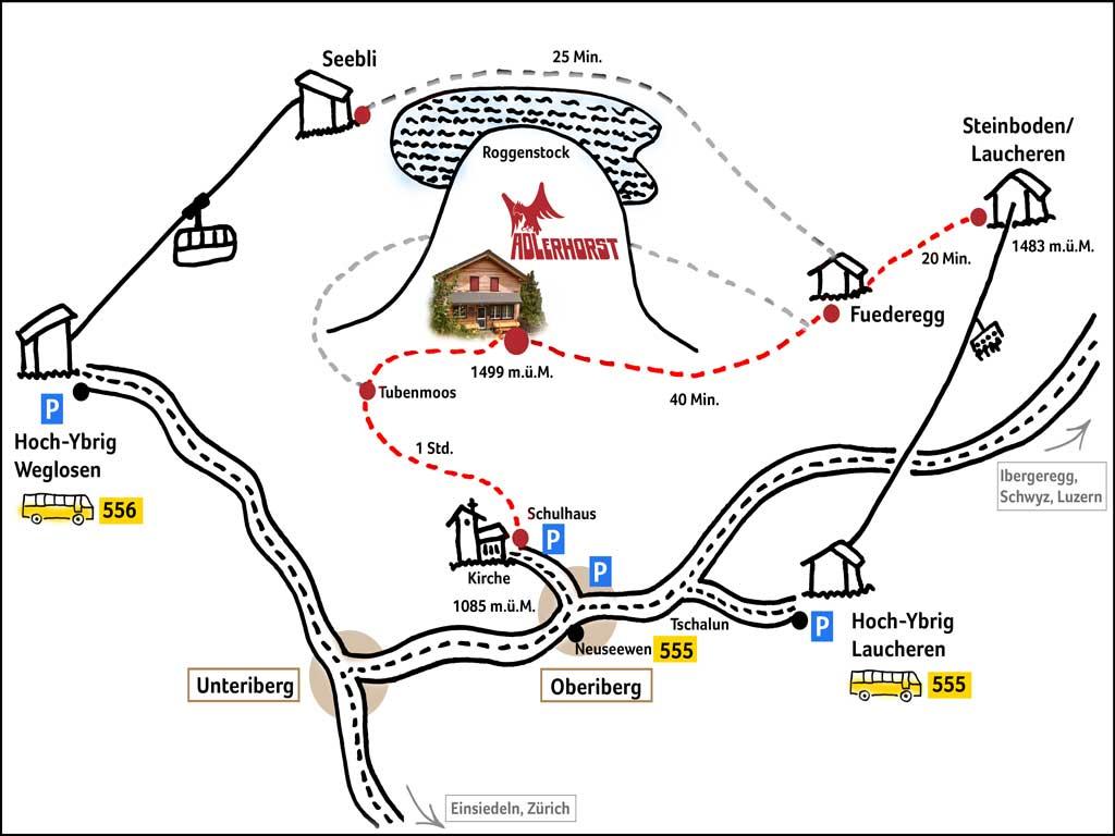 Lageplan Adlerhorst Oberiberg Hoch-Ybrig