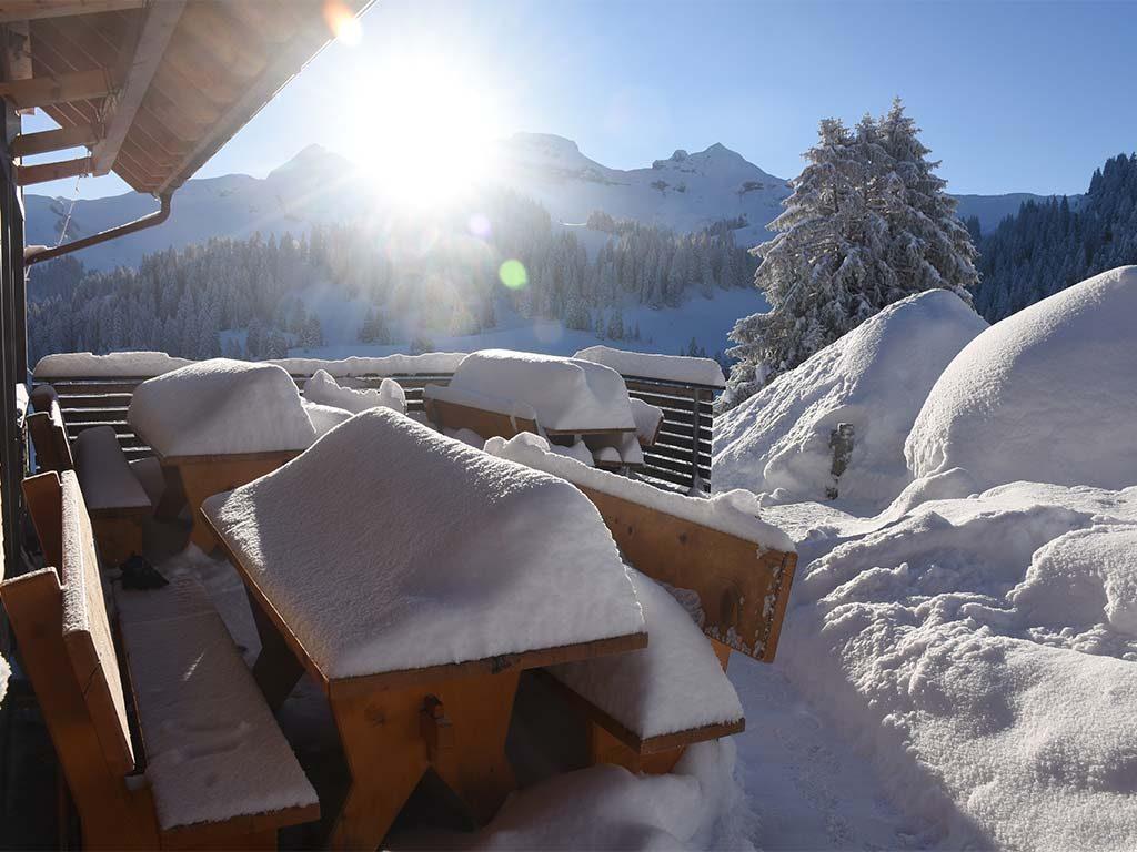 Adlerhorst Terrasse Winter Schnee