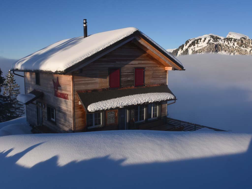 Berggasthaus Adlerhorst Winter Schnee aussen