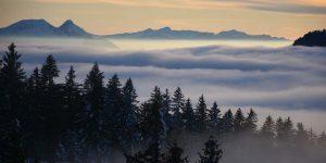 Mythen Sonnenuntergang Nebel