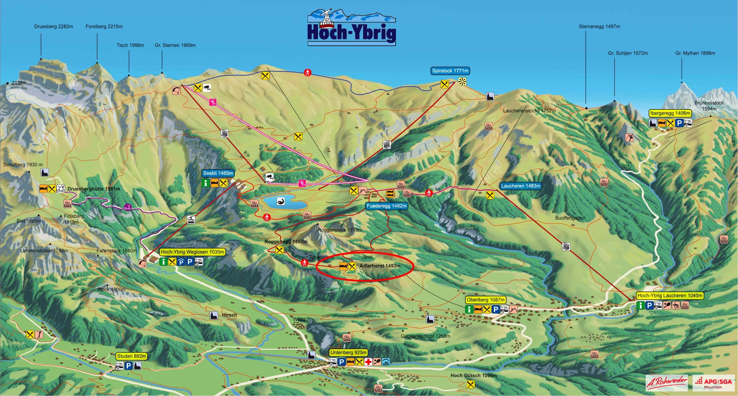 Panoramakarte Hoch-Ybrig 2019 Sommer Übersicht Adlerhorst