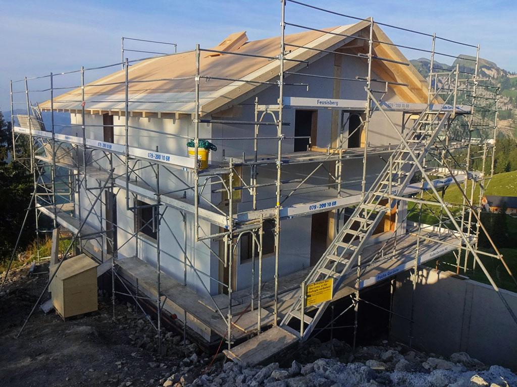 Adlerhorst Hoch-Ybrig Neubau Rohbau aussen