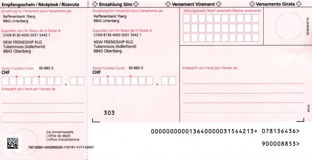 Einzahlungsschein Adlerhorst Oberiberg