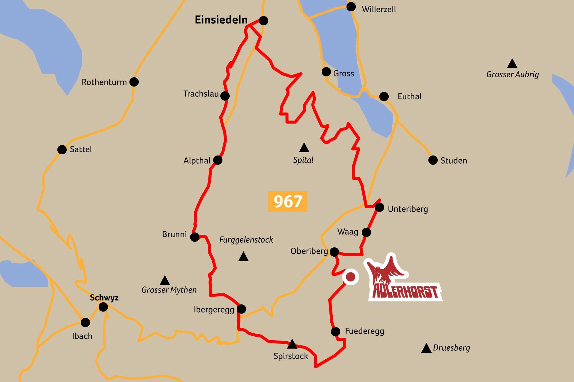 Karte Illustration Route 967 Mountainbike Iron Bike