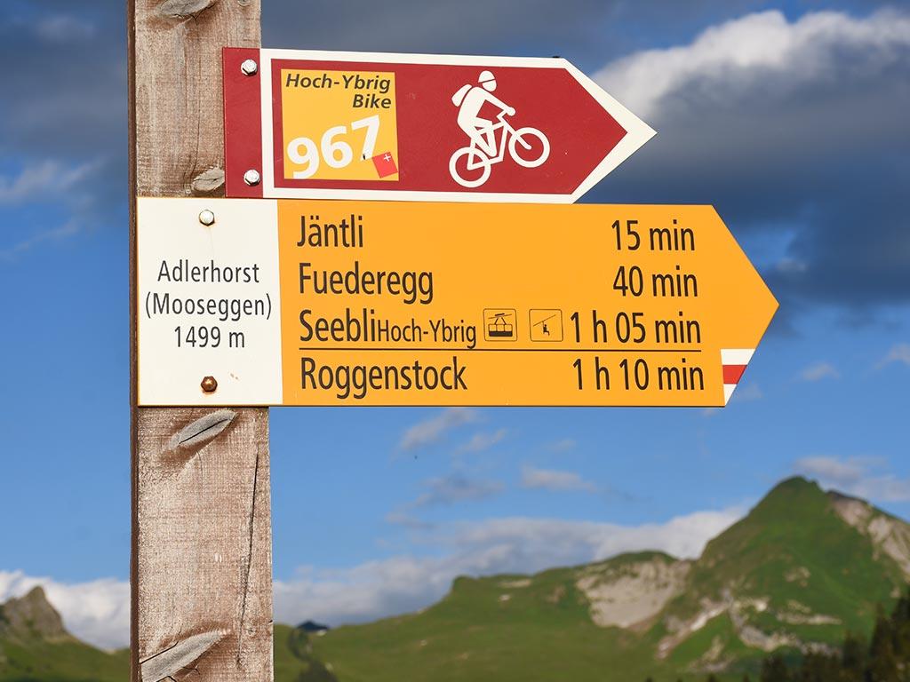 Wegweiser Wanderweg Adlerhorst Hoch-Ybrig Bike 967