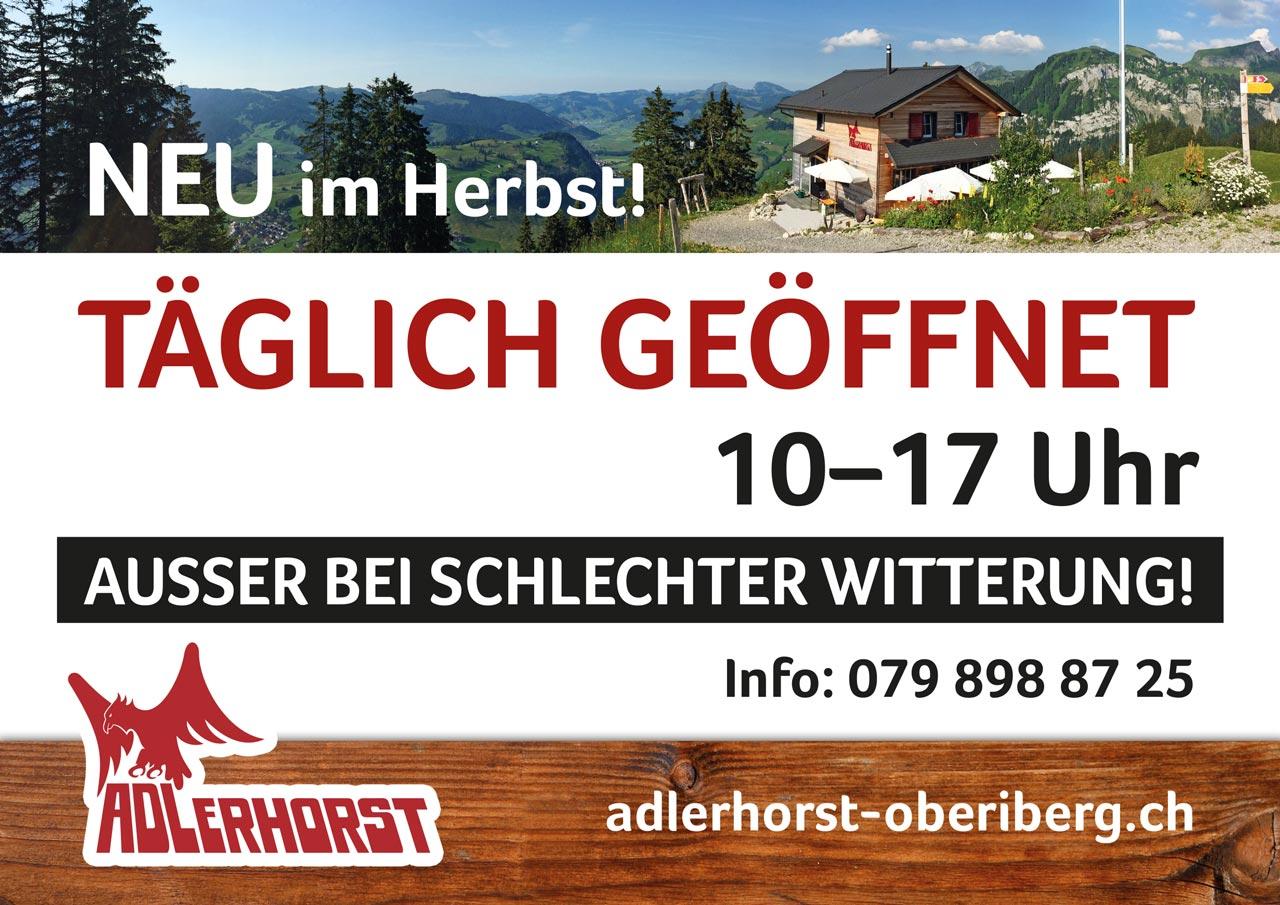 Flyer Adlerhorst Oeffnungszeiten Herbst taeglich offen