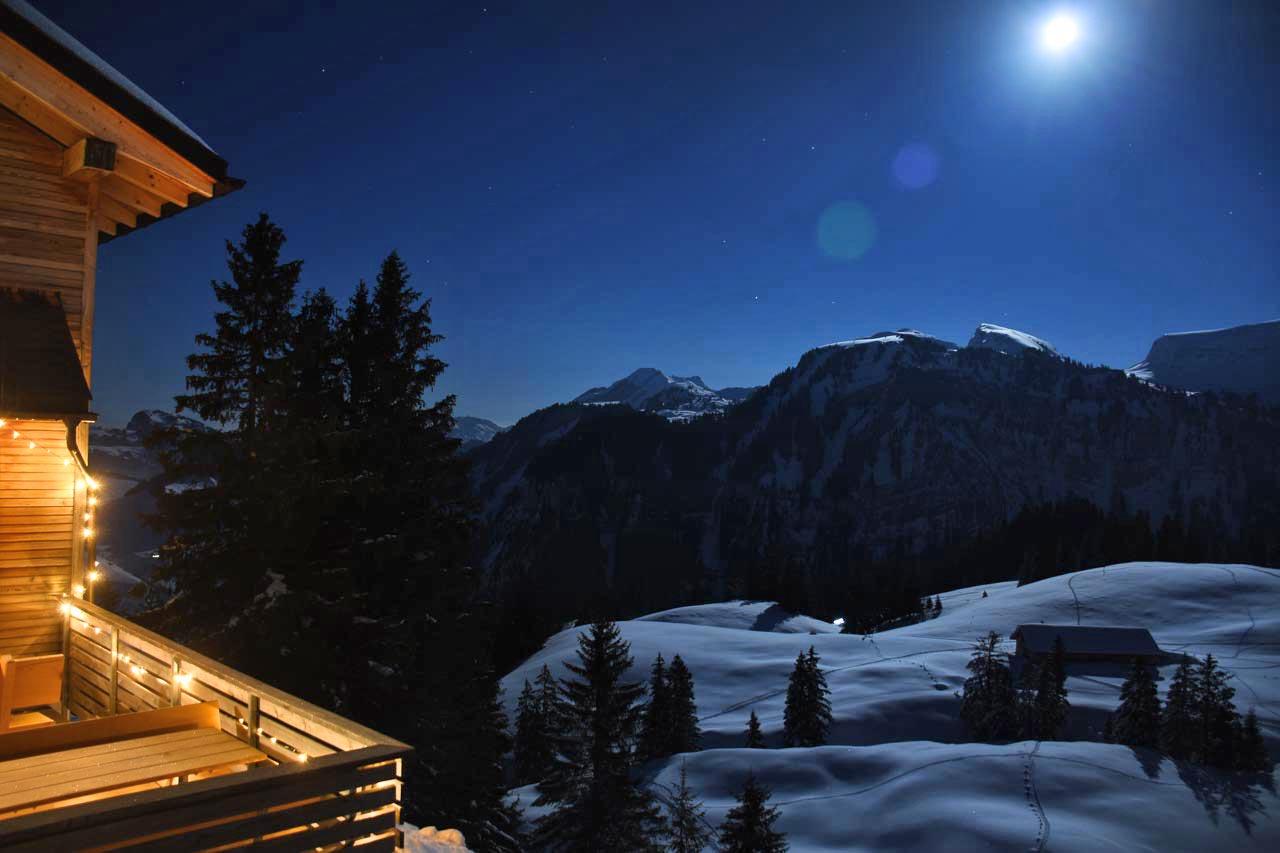 Adlerhorst Schneeschuhwanderung Vollmond Tubenmoos