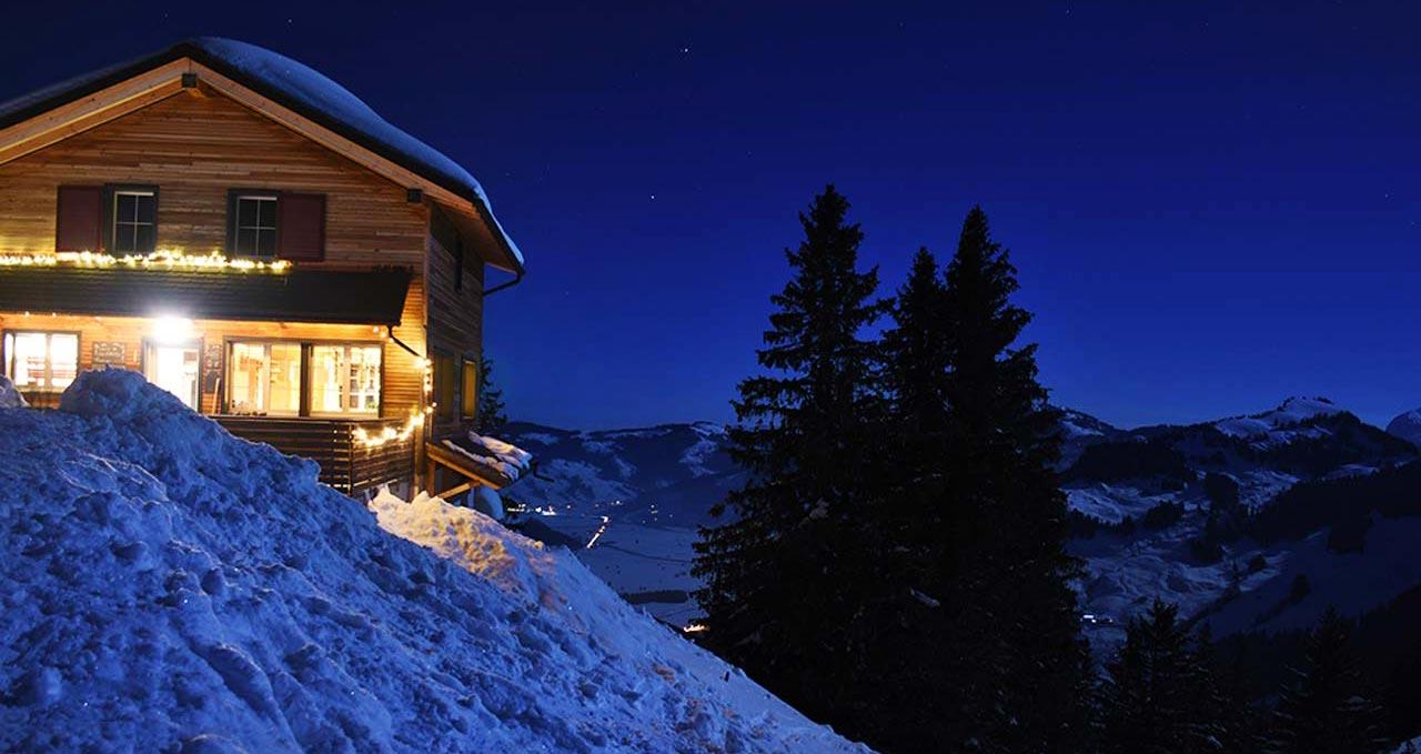 Berggasthaus Adlerhorst Winter Schneeschuhtour Vollmond
