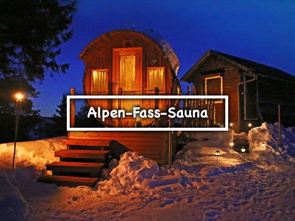 Alpen-Fass-Sauna Adlerhorst Oberiberg Winter Wellness
