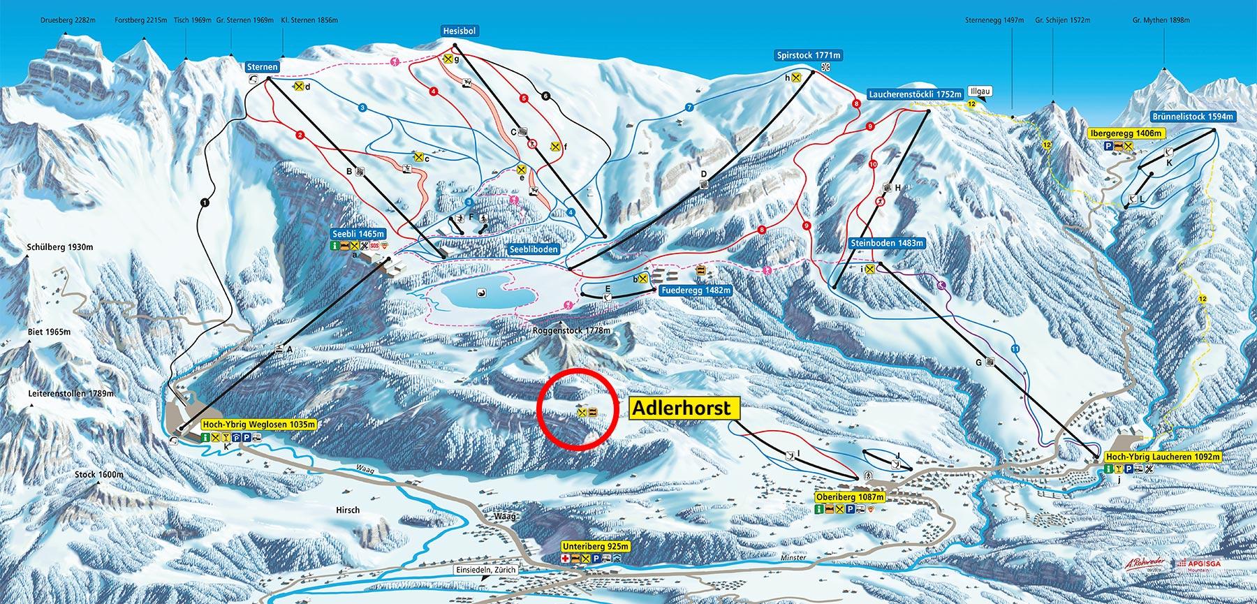 Panoramakarte Übersicht Hoch-Ybrig Skigebiet Winter 2019-2020 Adlerhorst