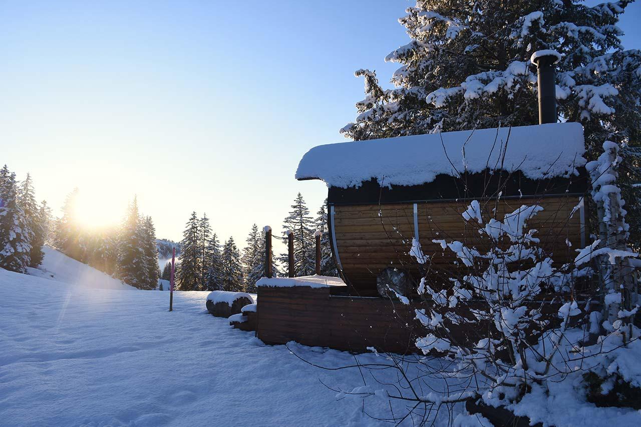 Alpenfass-Sauna Adlerhorst Wellness Hoch-Ybrig