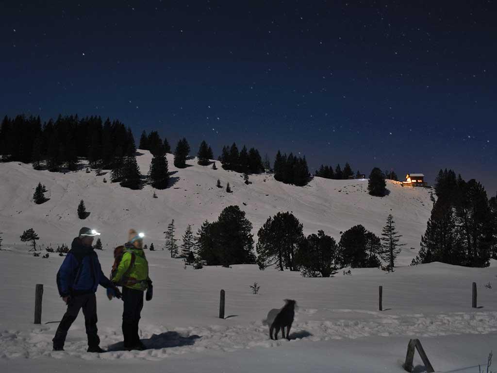 Mondschein-Wanderung Adlerhorst Nacht Schneeschuhe