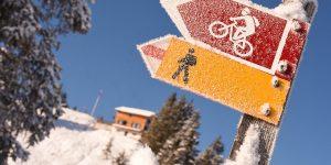 Adlerhorst Wanderweg Schild Winter Schnee