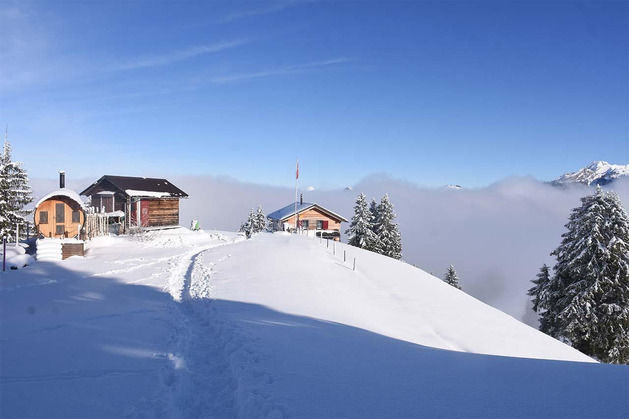 Adlerhorst Oberiberg Winter Schnee Hoch-Ybrig