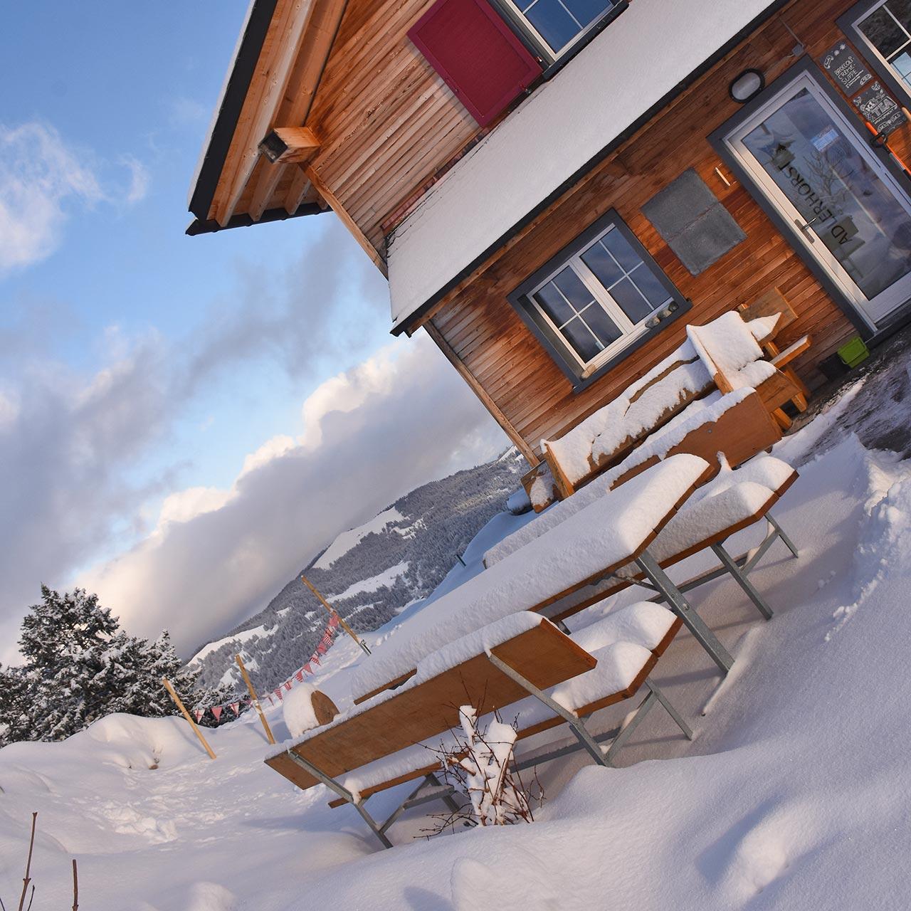 Adlerhorst Terrasse aussen Winter Schnee