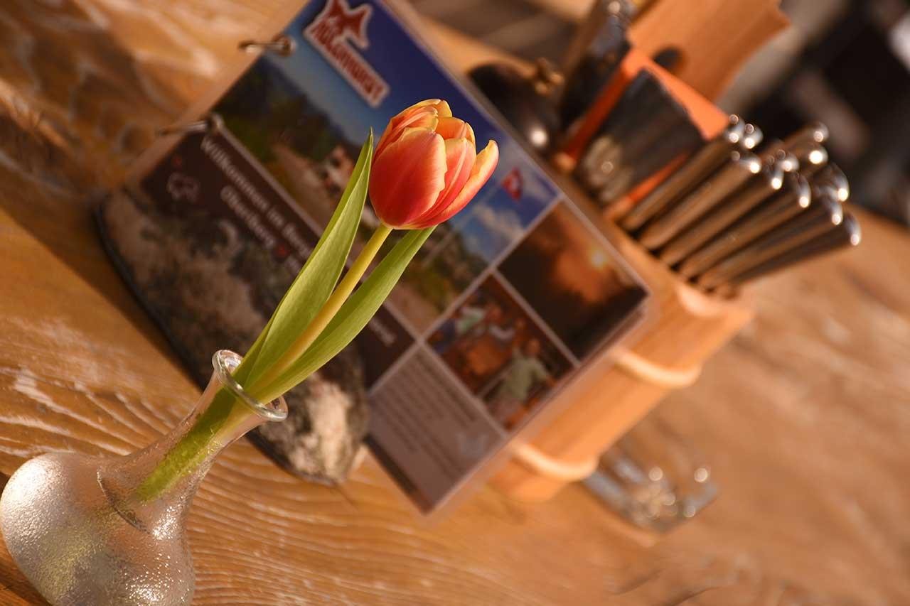 Tulpen Tischdekoration Terrasse Adlerhorst Oberiberg