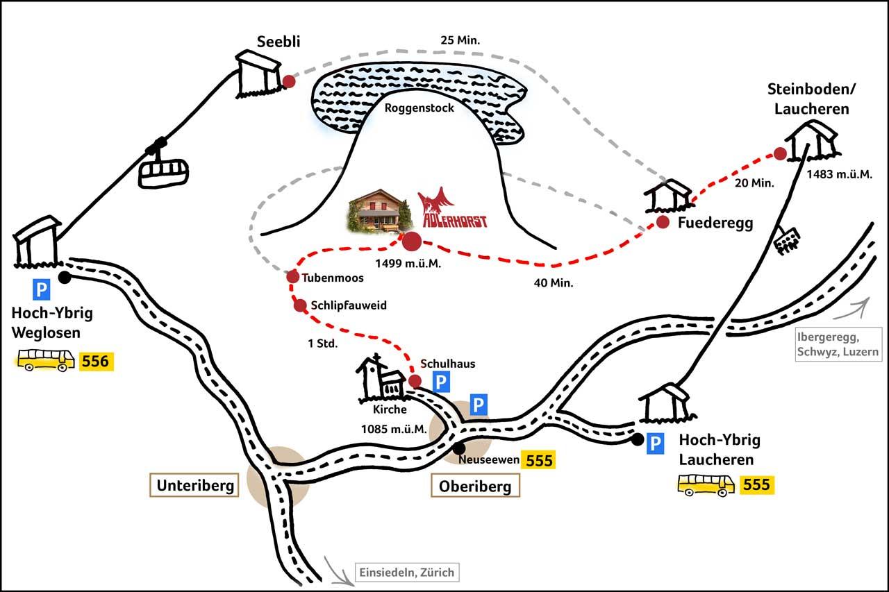 Lageplan Adlerhorst Oberiberg Hoch-Ybrig Wanderweg