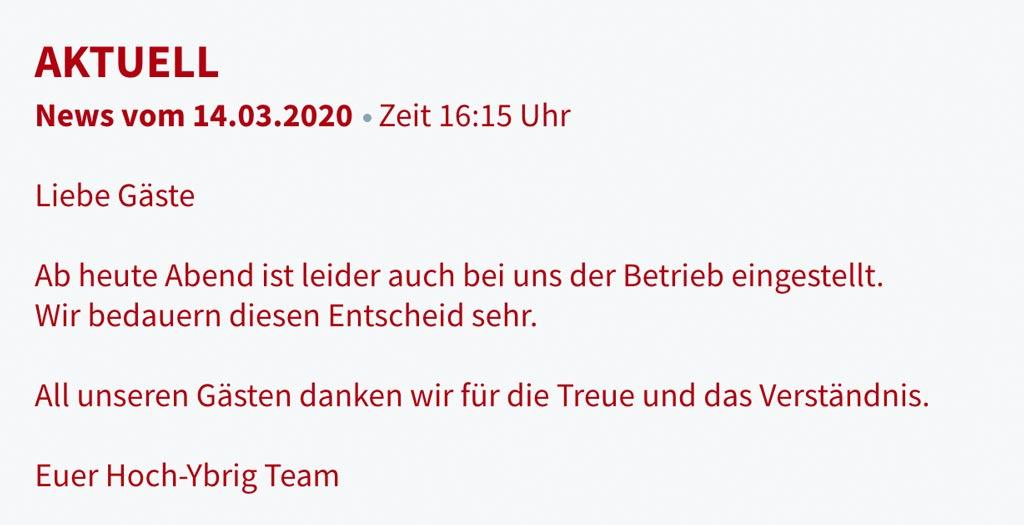 Hoch-Ybrig Bergbahnen Betrieb eingestellt NEWS