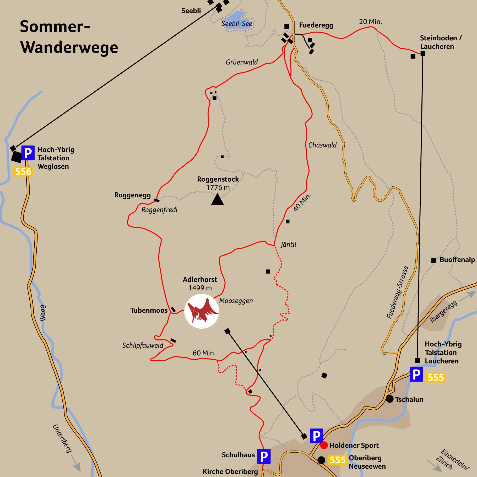 Adlerhorst Oberiberg Hoch-Ybrig Wanderkarte Wanderwege